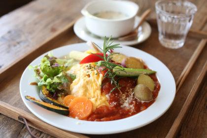 ■ ゴロゴロ温野菜のオムライス+100%オーガニック豆乳スープ